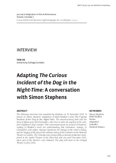 Adapting The Curious Incident Of The Dog In The Night Time A