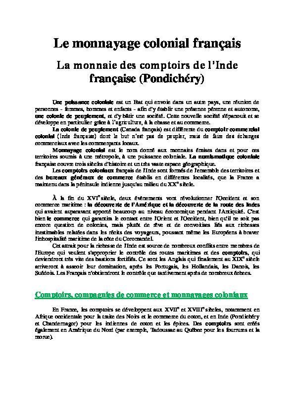 Le Monnayage Colonial Français à Pondichéry Isabelle Lerquet