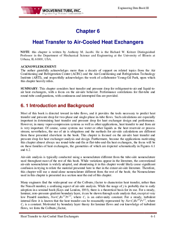 PDF) Chapter 6 Heat Transfer to Air-Cooled Heat Exchangers