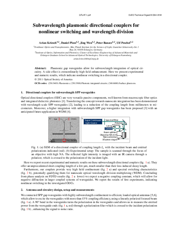 PDF) Nonlinear Effects in Subwavelength Plasmonic