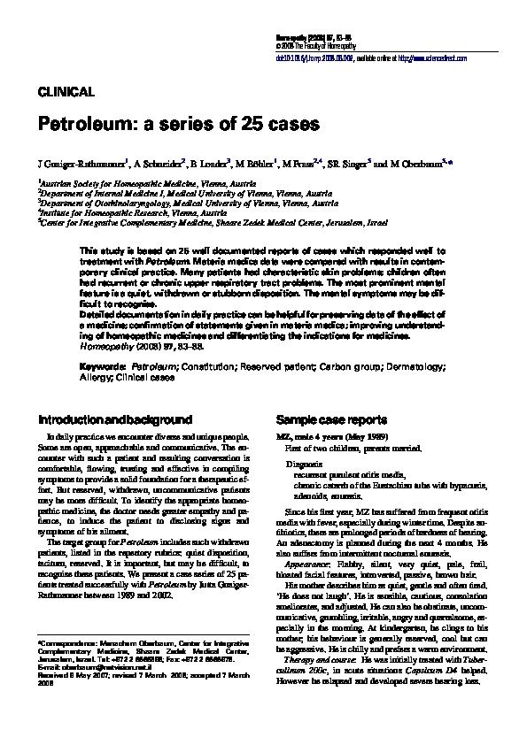 PDF) Petroleum: a series of 25 cases   Shepherd Singer