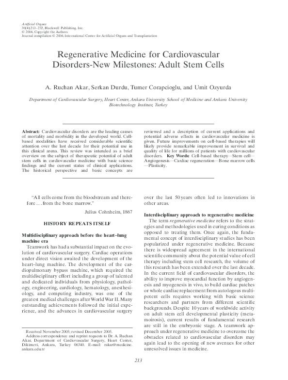 PDF) Regenerative Medicine for Cardiovascular Disorders-New