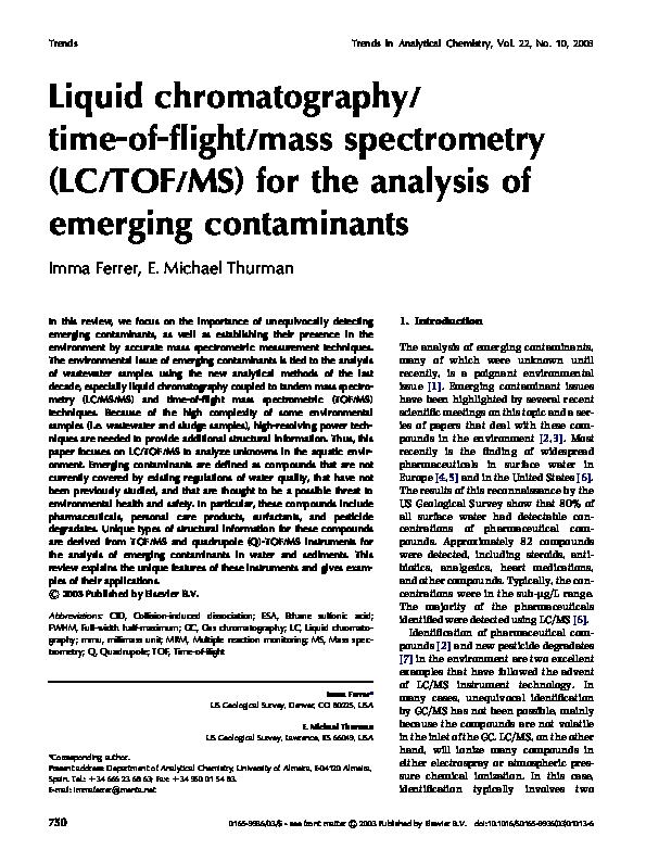 PDF) Liquid chromatography time of flight mass spectrometry