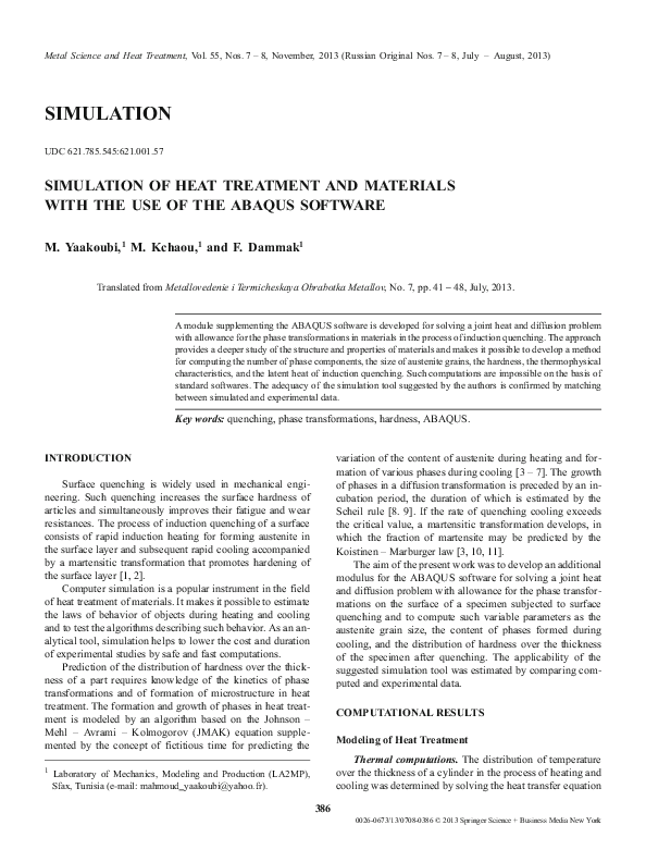 PDF) SIMULATION OF HEAT TREATMENT AND MATERIALS WITH THE USE OF THE