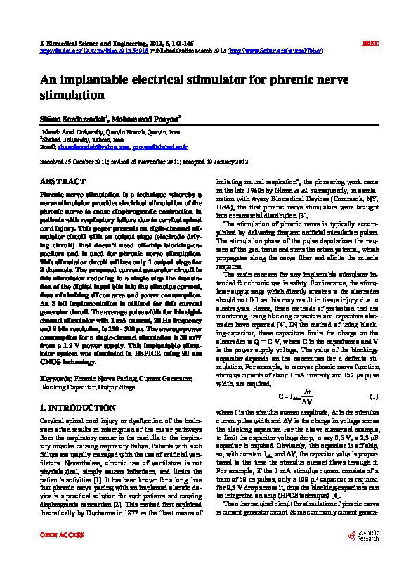 PDF) An implantable electrical stimulator for phrenic nerve