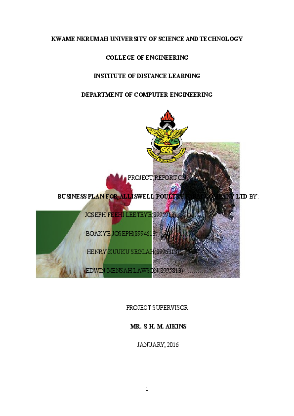DOC) BUSINESS PLAN FOR ALLISWELL POULTRY FARM COMPANY LTD | boakye