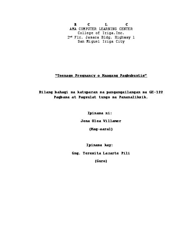 thesis tungkol sa maagang pagbubuntis