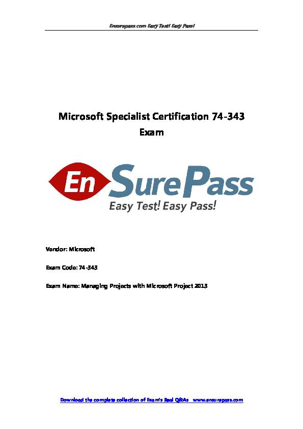 Microsoft Specialist Certification 74 343 Exam Vendor Microsoft