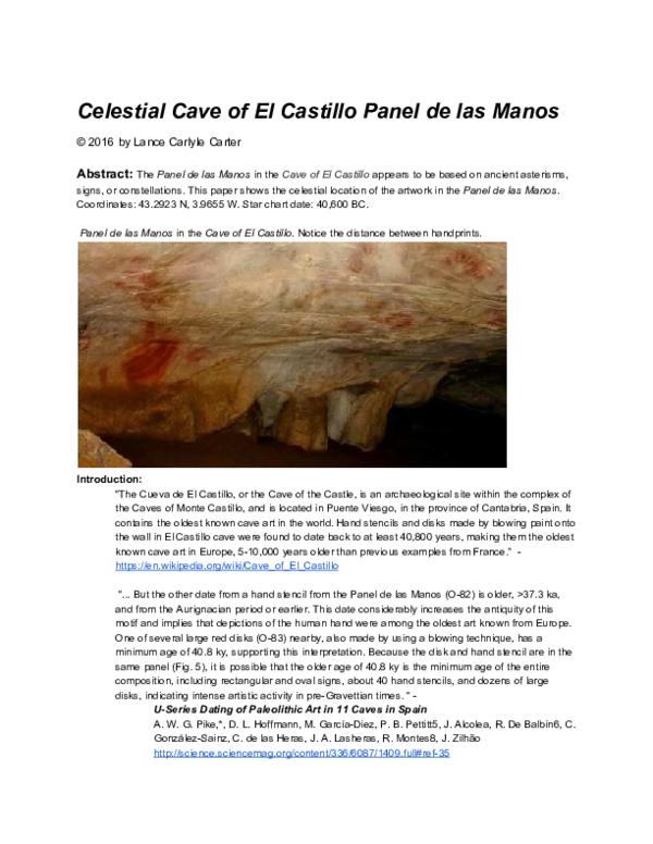 PDF) Celestial Cave of El Castillo Panel de las Manos | Lance