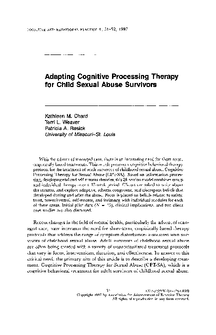 Pdf Adapting Cognitive Processing Therapy For Child Sexual Abuse Survivors Patricia Resick And Kathleen Chard Academia Edu