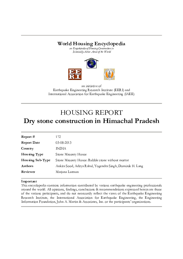 PDF) Dry stone construction in Himachal Pradesh | Dr