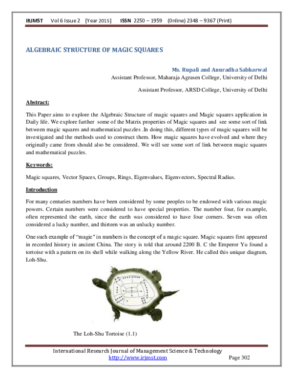 PDF) ALGEBRAIC STRUCTURE OF MAGIC SQUARES | International