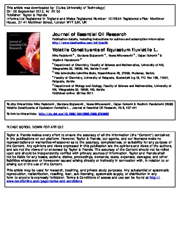 PDF) Volatile Constituents of Equisetum fluviatile L | Gordana