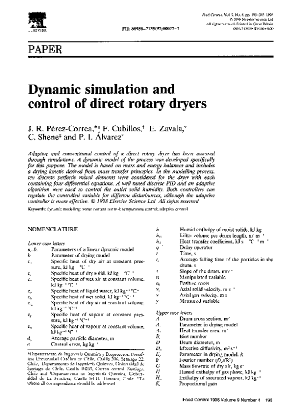 PDF) Dynamic simulation and control of direct rotary dryers