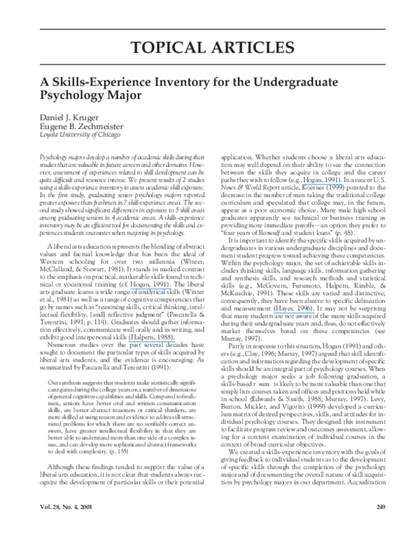 PDF) A Skills-Experience Inventory for the Undergraduate
