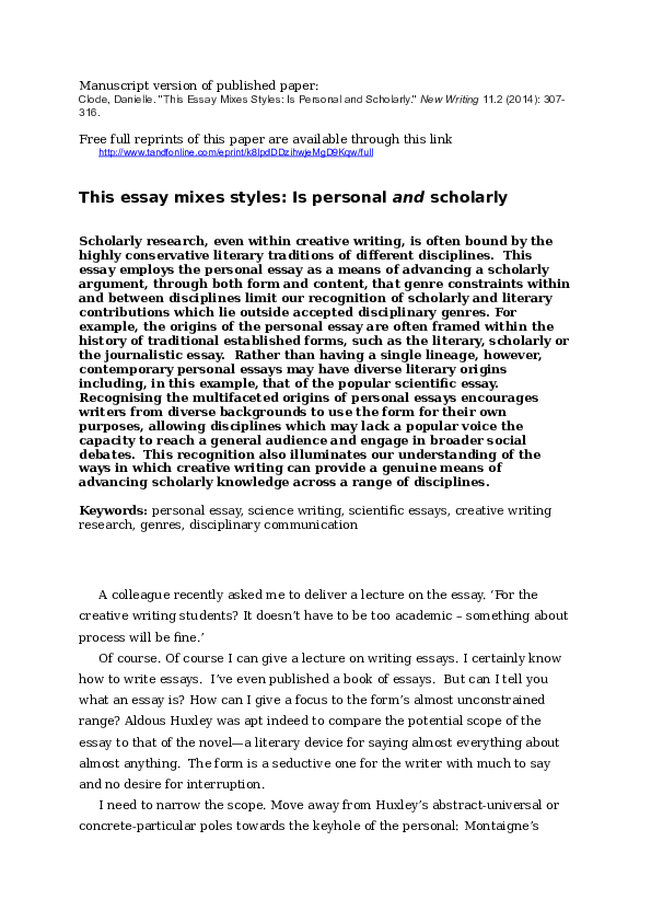 DOC) This essay mixes styles: Is personal and scholarly