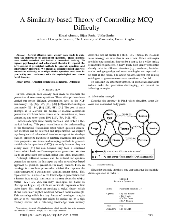 PDF) A Similarity-based Theory of Controlling MCQ Difficulty