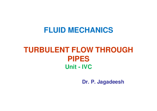 PDF) FLUID MECHANICS TURBULENT FLOW THROUGH PIPES Unit -IVC