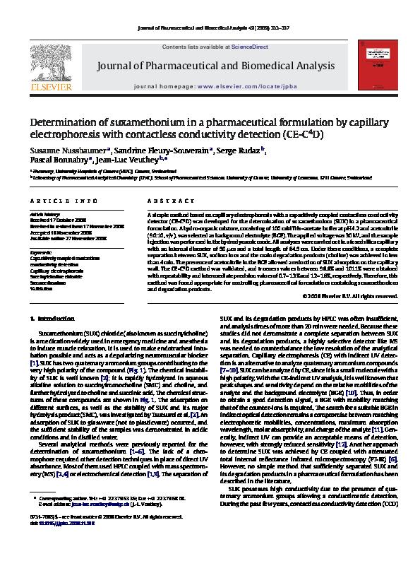 PDF) Determination of suxamethonium in a pharmaceutical