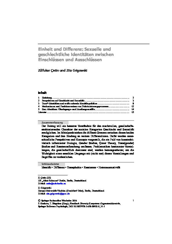(PDF) Einheit und Differenz: Sexuelle und geschlechtliche