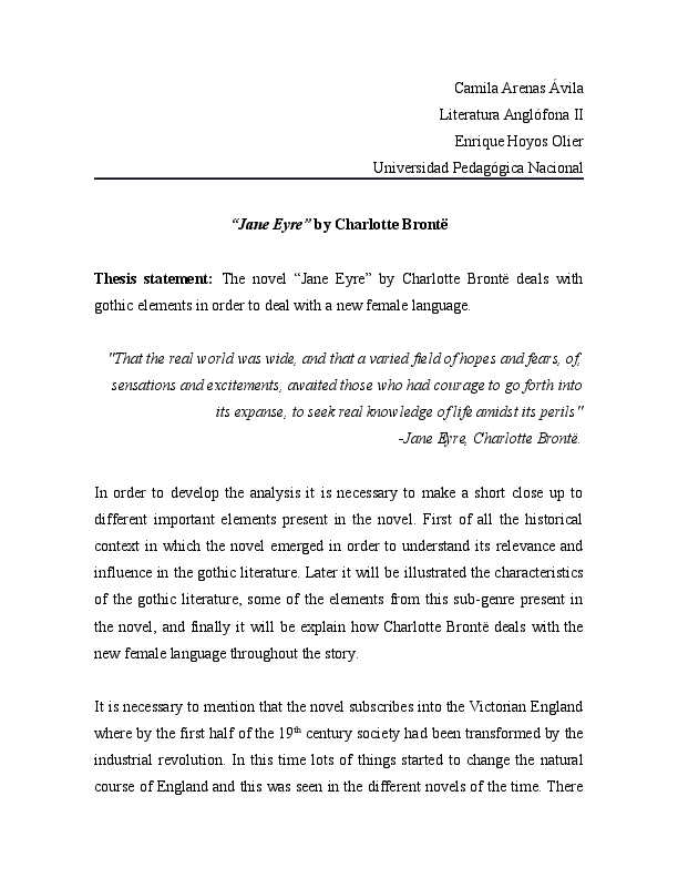 jane eyre thesis statement