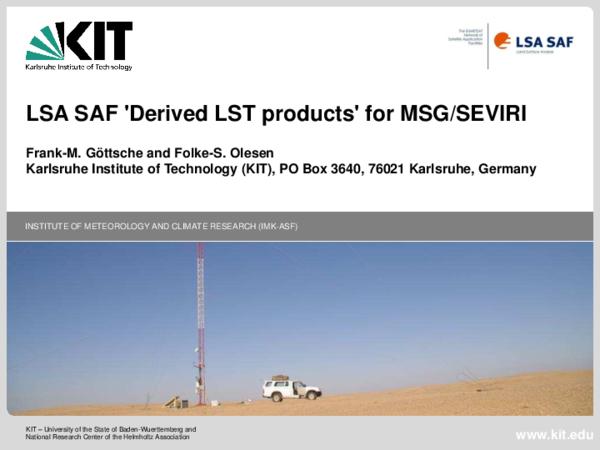 PDF) LSA SAF 'Derived LST products' for MSG/SEVIRI   Frank-m