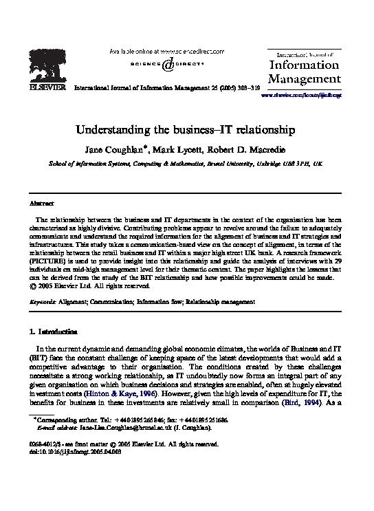 PDF) Understanding the business–IT relationship | Robert