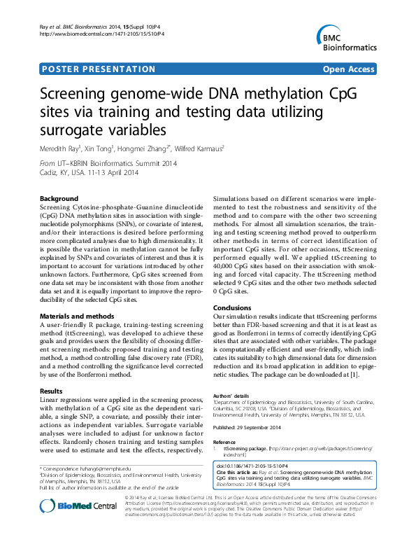 PDF) Screening genome-wide DNA methylation CpG sites via training