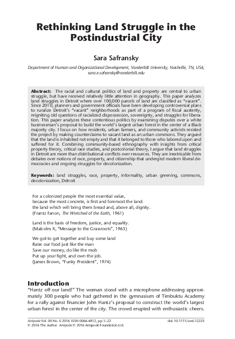 PDF) Rethinking Land Struggle in the Postindustrial City