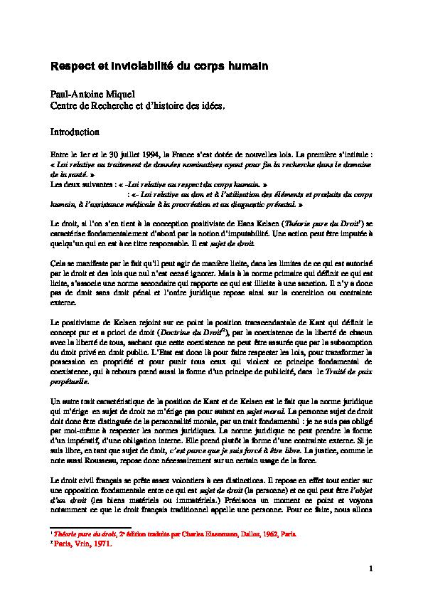 Dissertation sur le respect du corps humain