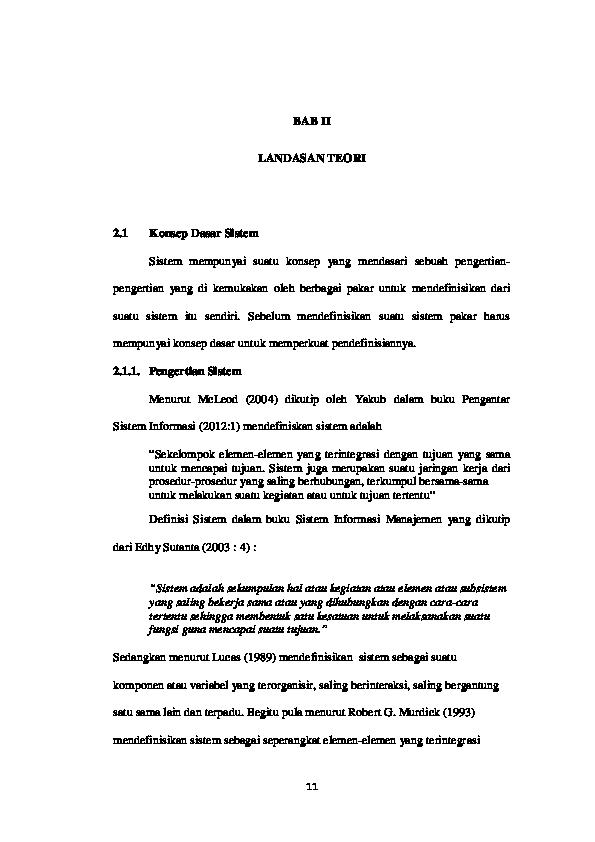 Pdf Bab Ii Landasan Teori 2 1 Konsep Dasar Sistem Musleh Alhayubi Academia Edu