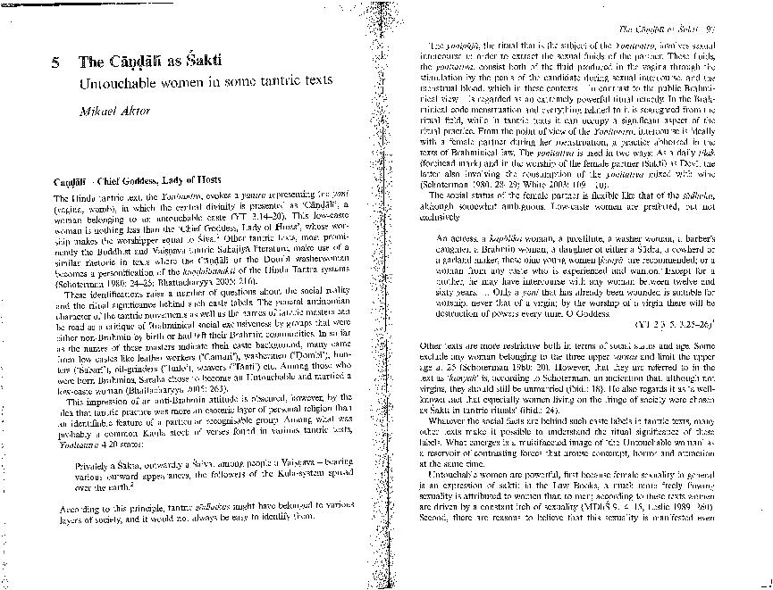 The Cāṇḍālī as Śakti: Untouchable Women in Some Tantric Texts