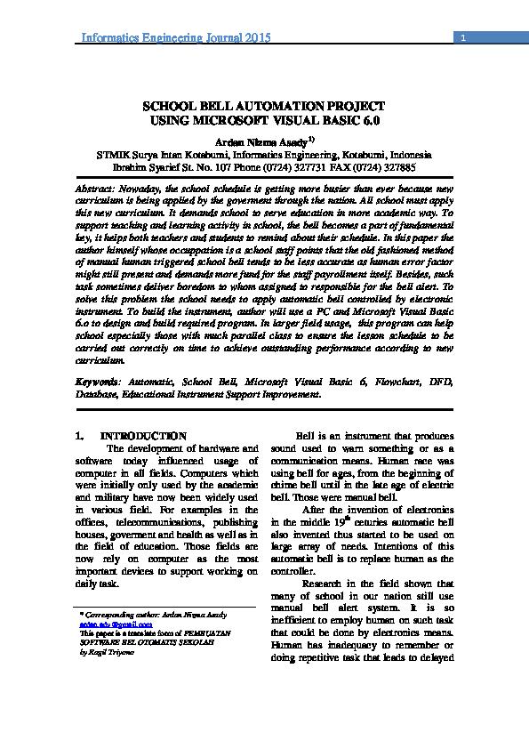 PDF) SCHOOL BELL AUTOMATION PROJECT USING MICROSOFT VISUAL BASIC 6 0