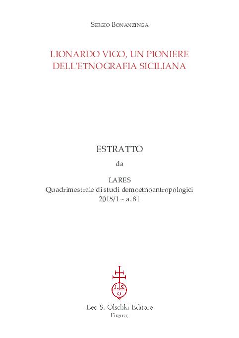 Poesie Di Natale In Dialetto Siciliano.Pdf Lionardo Vigo Un Pioniere Dell Etnografia Siciliana Sergio