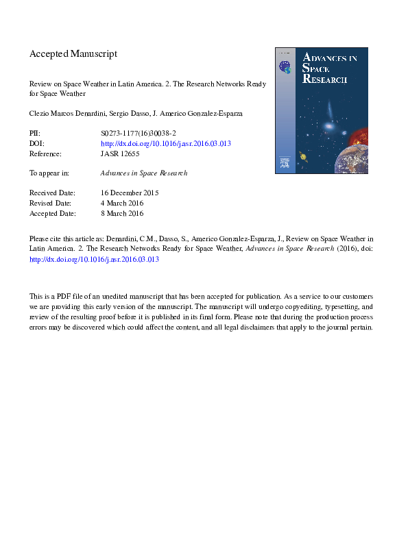 Pdf Review On Space Weather In Latin America 2 The Research Networks Ready For Space Weather Clezio De Nardin And J Americo Gonzalez Esparza Academia Edu