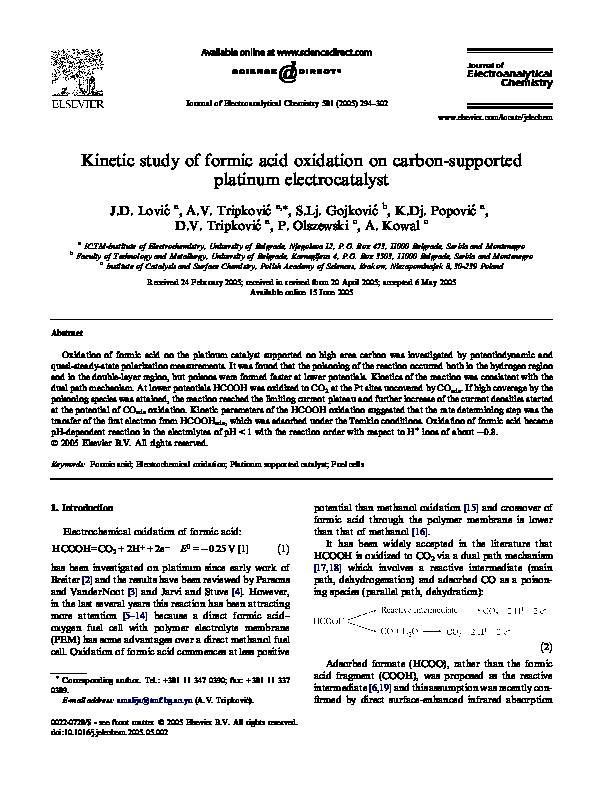 Pdf Kinetic Study Of Formic Acid Oxidation On Carbon
