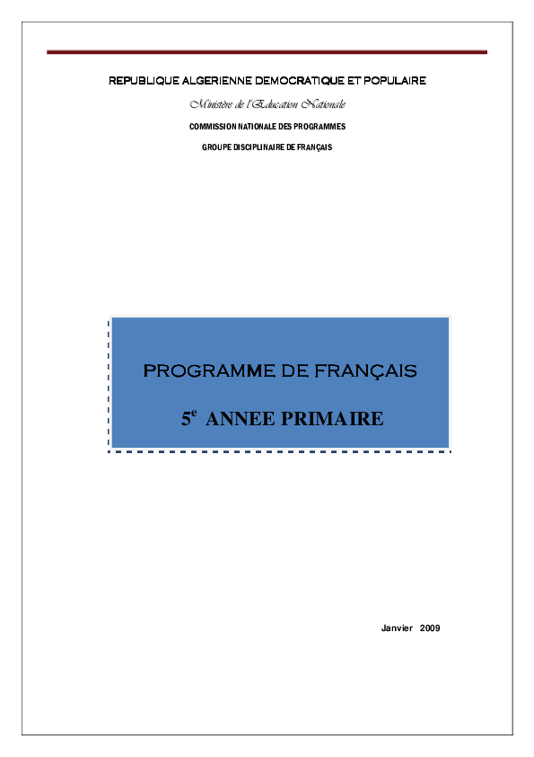 Pdf Programme De Francais 5e Annee Primaire Naouel Chikh