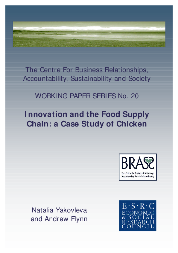 PDF) Innovation and the Food Supply Chain: a Case Study of Chicken