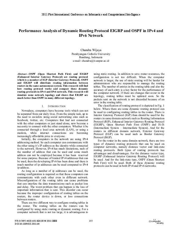 Performance Analysis Of Dynamic Routing Protocol Eigrp And Ospf In