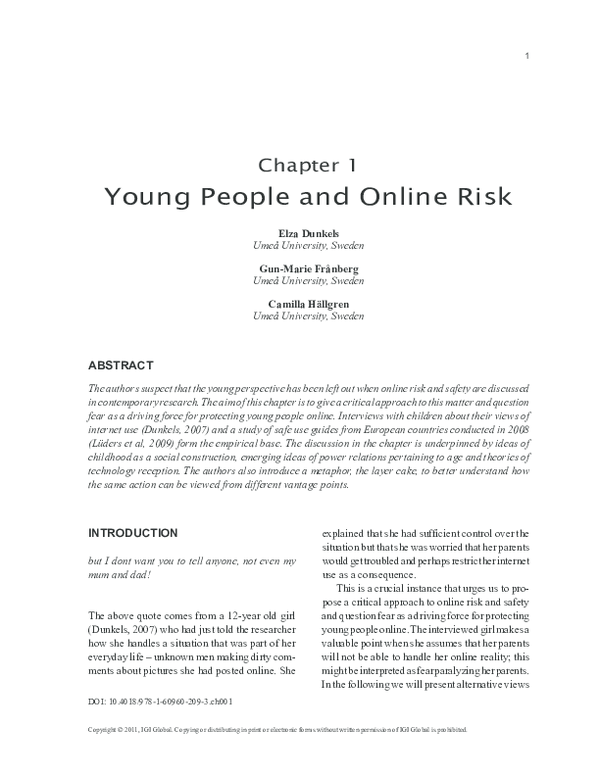 PDF) Young People and Online Risk | Elza Dunkels, Camilla Hällgren ...