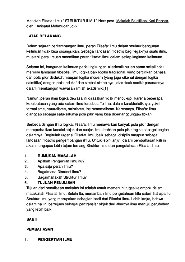 Doc Makalah Filsafat Ilmu Elis Altiani Academia Edu