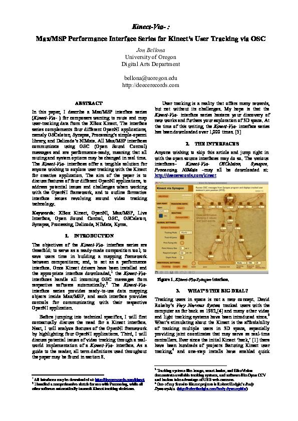 PDF) Kinect-Via-: Max/MSP Performance Interface Series for