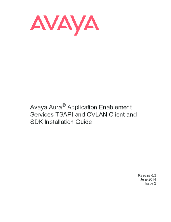 PDF) Avaya Aura ® Application Enablement Services | masooma