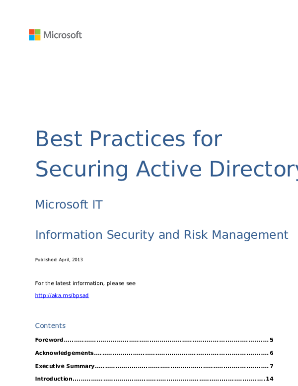 DOC) Best practices for securing active directory | Makandi Guantai