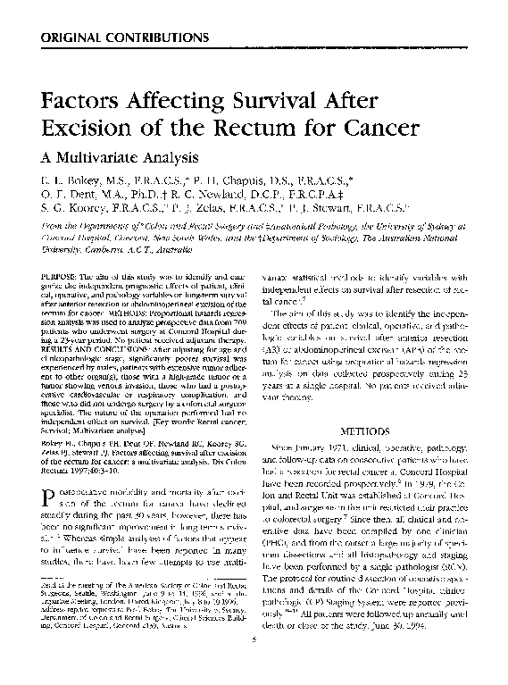 PDF) Factors affecting survival after excision of the rectum