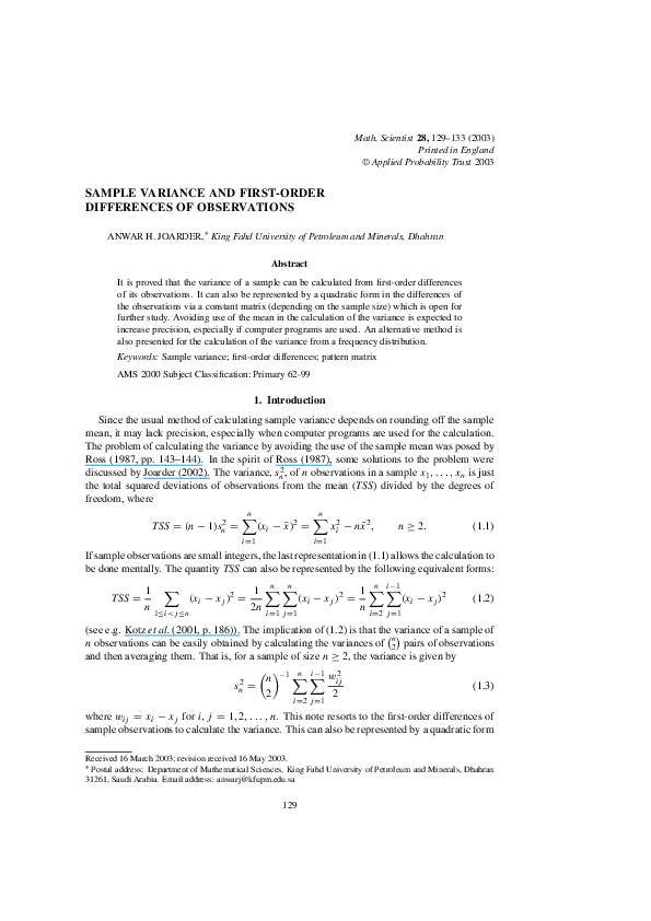 PDF) Sample Variance and First-Order Differences of Observations