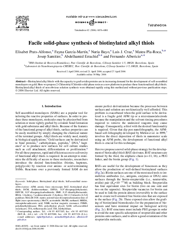 PDF) Facile solid-phase synthesis of biotinylated alkyl thiols