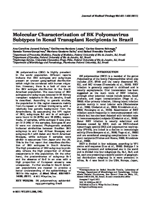 PDF) Molecular characterization of BK polyomavirus subtypes