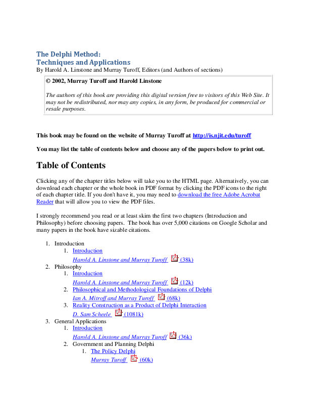 PDF) The Delphi Method: Techniques and Applications | Murray Turoff
