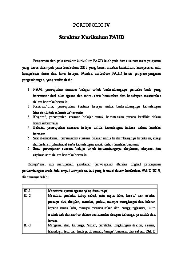Doc Struktur Kurikulum Paud Hana Marsa Academia Edu